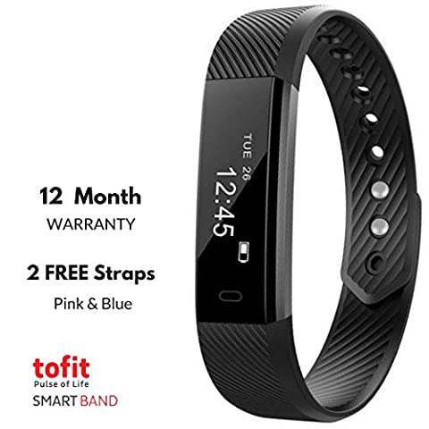 Fitness Tracker - ToFit V1 with all Prime functions Activity Wristband: Bluetooth Wireless Smart Bracelet Waterproof Pedometer Activity Tracker Watch with Replacement Band for iPhone and (Watch Waterproof Prime)