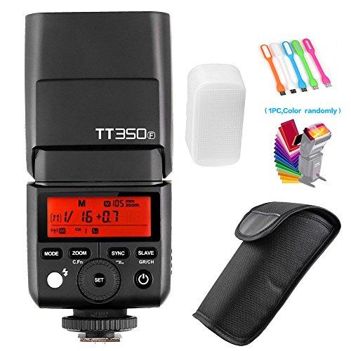 Godox TT350F 2.4G TTL GN36 High Speed Sync 1/8000s Wireless Master/slave Camera Flash Speedlite light for Fuji Mirrorless Cameras(TTL autoflash)+Filters & USB LED by Godox