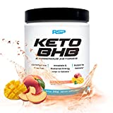 RSP Keto BHB Powder, Exogenous Ketones Supplement to Support Ketogenic Diet, Boost Energy and Focus in Ketosis, Patented Beta-Hydroxybutyrate BHB Salts, Peach Mango, 16 Servings