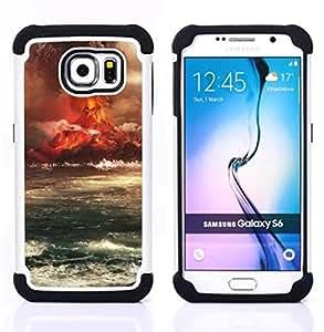For Samsung Galaxy S6 G9200 - Volcano Eruption Island Dual Layer caso de Shell HUELGA Impacto pata de cabra con im????genes gr????ficas Steam - Funny Shop -