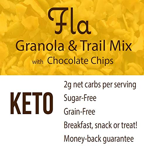 Keto Granola Fla Low Carb Cereal with Chocolate Chips - Vegan, Sugar & Grain Free Nut Snacks, Ketogenic Diet Friendly, Healthy Snack & Breakfast Food - 11oz bag (11 servings) 4