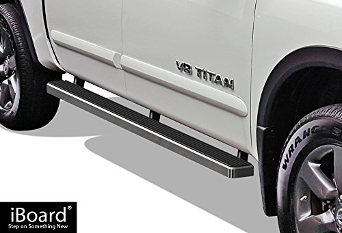 (APS iBoard Running Boards (Nerf Bars | Side Steps | Step Bars) for 2004-2019 Nissan Titan Crew Cab Pickup 4-Door & 16-19 Titan XD | (Silver 4 inches))
