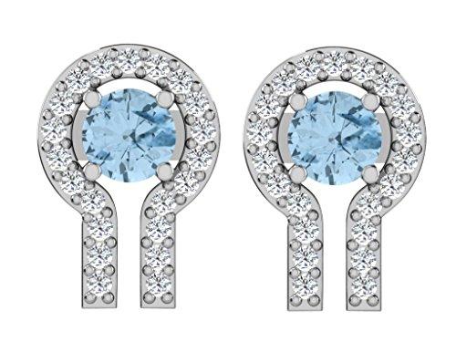 Libertini Boucle d'oreille argent 925 serti de Diamant et Aigue-marine