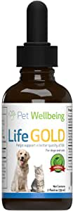 Pet Wellbeing Life Gold for Cats - Immune System Support and antioxidant Protection for felines with Cancer 2 oz (59 ml)