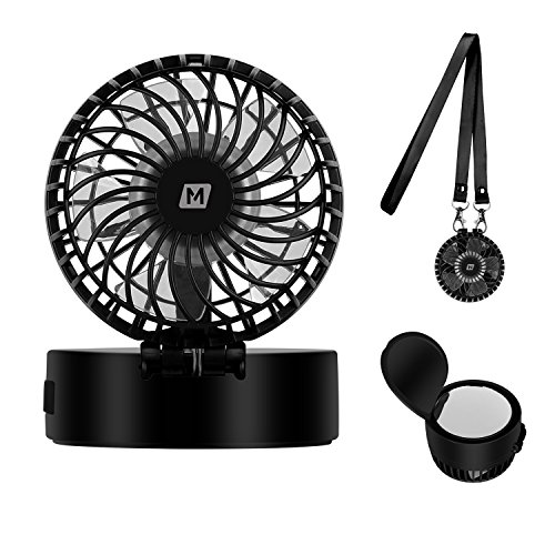 MOMAX Mini Handheld Fan with Cosmetic Mirror for Summer Cooling and Make Up - Cute USB Rechargeable Personal Necklace Fan,3 Adjustable Speeds, Perfect for Indoor or Outdoor Activities (Black) by MOMAX