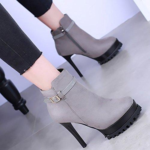 khskx-pointed de zapatos de tacón alto botas de Martin impermeable mesa fina talón botas Sexy botas de hebilla de cinturón simple de la mujer gris