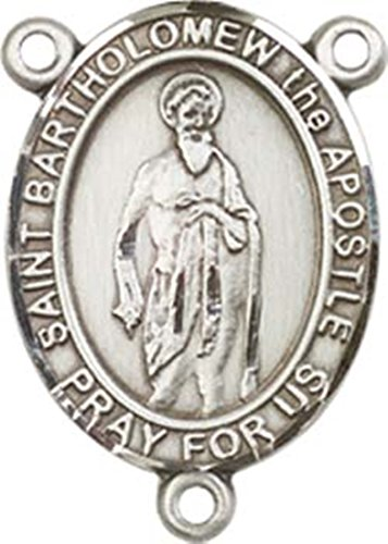 (Sterling Silver Saint Bartholomew the Apostle Rosary Centerpiece Medal, 3/4 Inch)