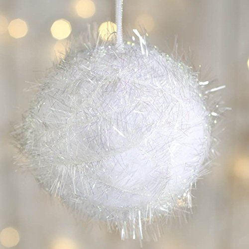 Snowball Ornament (Factory Direct Craft® Package of 8 Iridescent Fuzzy Snowball Ornaments for Tree Trim, Crafting and)