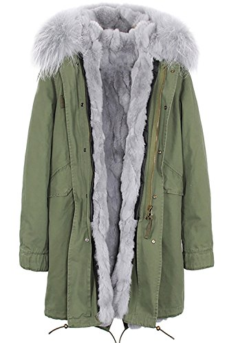75a9f840d4faa S.ROMZA Women Real Rabbit Fur Parka Upscale Long Hooded Coat Detachable  Jacket Real Fur