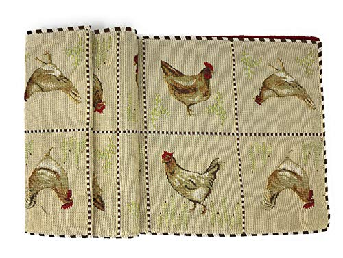 Tache Country Farmhouse Rooster Hens Chickens Antique Vintage Traditional Home Decorative Woven Tapestry Kitchen Dining Coffee Table Runners, 13x72