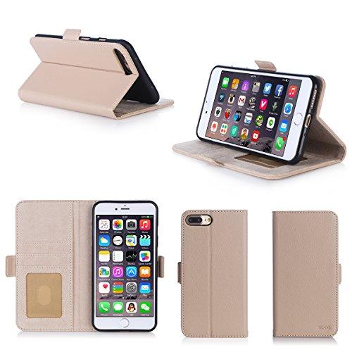 Apple iPhone 7 PLUS 5.5 pouces : Housse Portefeuille beige crème luxe Cuir Style avec stand - Housse coque de protection iPhone 7+ 5,5 avec porte cartes - Accessoires pochette XEPTIO : Exceptional cas
