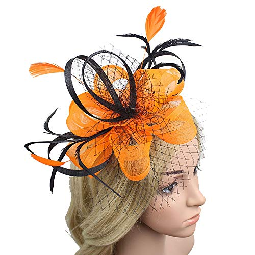 Sttech1 Wedding Party Hat, Vintage Mesh Net Fascinator Penny Ribbons and Feathers Flower Hair Clip Headband Cocktail Party Hat for Women Many Types (Yellow 3)