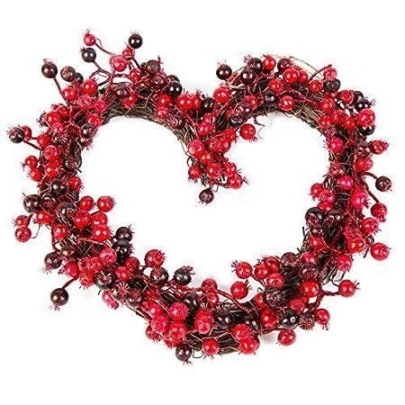 Christmas Heart Wreath.Christmas Winter Deluxe Wreath 30cm Festive Berry Heart