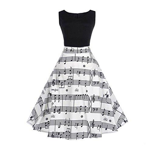 Vestido de mujer, ❤️Xinantime Vestido de bola sin mangas elegante floral de las mujeres Vestido Hepburn de té vintage Vestido Elegantes de Noche ❤️blanco