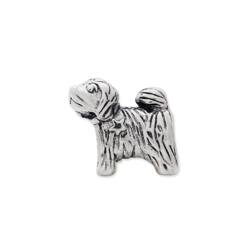 13.6mm x 11.8mm Jewel Tie 925 Sterling Silver Reflections Puppy Bead