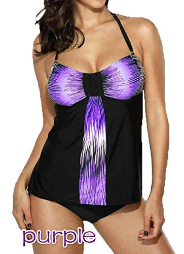 Full Coverage Halter Tankini (Summer Mae Women's Two Piece colorful Print Swimwear Tankini Top With Short)