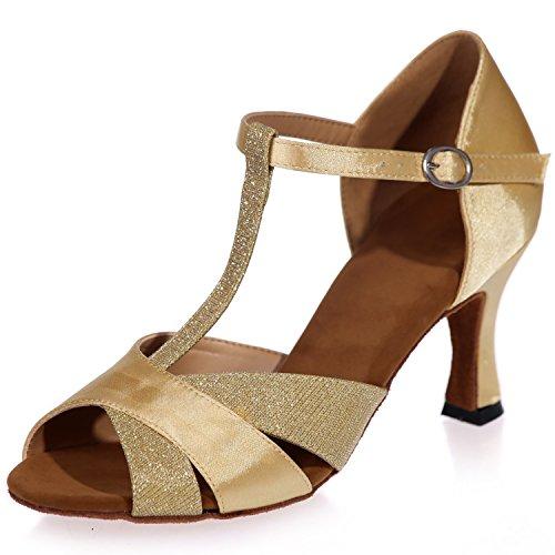 Elobaby Salsa Jazz Talon robe Pour Chaussures 7 5cm Gold Femmes Peep Standard Latin Toes De Danse Glitter SYSgw