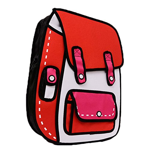 LinX 3D Cartoon Funny Shoulder Backpack Jump From Paper Comic Satchal Canvas Bookbag Red