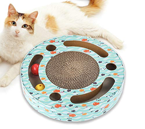 Mora Pets Cat Scratcher Interactive Cat Toys - Kitten Toys with Corrugated Cat Scratcher Cardboard, Kitty Interactive Track Toy with Balls and Scratch Pads