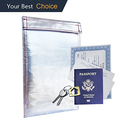 11' Pouch (Fireproof Document Bag ,KINGEVA Fireproof Waterproof Pouch (11''x7'') for Document Cash Money Passport Bank File and Valuables - Non-itchy Fire Resistant Pouch Senior Fireproof Bag)