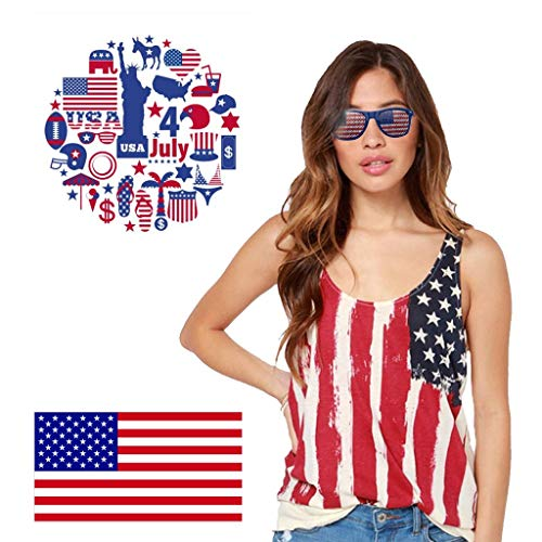 OutTop(TM) 3PCS American Flag Sunglasses USA Patriotic Design Plastic Shutter Glasses Shades Sunglasses Eyewear for Party Props Decoration for Independence Day (Multicolor)
