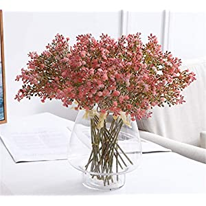 Skyseen Artificial Flowers Eucalyptus Leaf Rose Babys Breath Gypsophila Bouquet Wedding Party Home Decor,Pack of 1 40