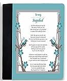 Rikki Knight To My Most Wonderful Stepdad Aqua Blue Birds on Branches Design Poem Notebook Portfolio Faux Suede (Notebook Included)