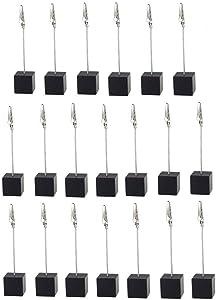 20pcs Table Number Holder Name Place Card Holder Memo Clip Holder Stand Note Holder Pictures Card Paper Menu Clip … (Black)