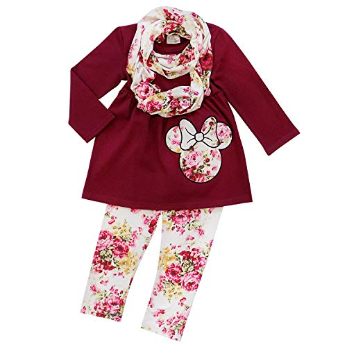 So Sydney Girls Toddler Pink or Red Minnie Mouse Kids Boutique Dress or Outfit (XXXL (8), Scarf Set Burgundy Floral)