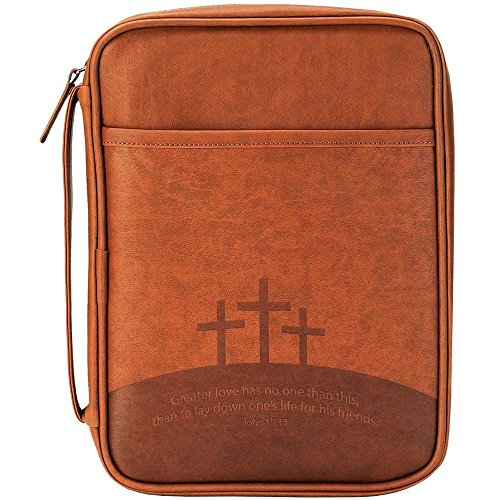 Three Crosses Brown 9 x 11 inch Leather Like Vinyl Bible Cover Case with Handle Large by Dicksons