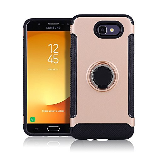 separation shoes 79a4e 51e8a Galaxy J7 Prime 2017 Case, Galaxy J7 V Case Slim Drop Protection Cover,  Ring Grip Holder Stand, Ready for Magnetic Car Air Vent Mount For Samsung  ...