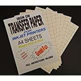 Inkjet Printable Iron On T Shirt & Fabric Transfer Paper For Light Fabrics 20 A4 Sheets