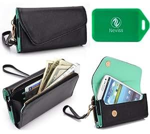 Pantech Vega Raver 2 IM-A830L Universal black w/ mint green interior wristlet wallet