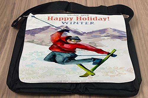 Borsa Tracolla Nostalgico Happy Holiday Stampato