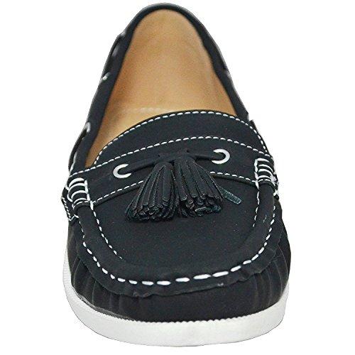 Studio 38 Women's Neena-17 Boat Shoes, Black, 8.5 M US
