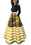 Womens African Maxi Skirt Dashiki Floral Print Striped Long A Line Ball Grown Skirt with Pockets (X-Large, Yellow)