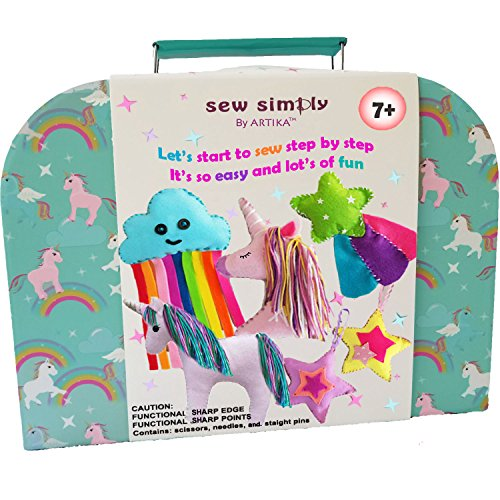 SEWING KIT FOR KIDS, Unicorns DIY craft for girls, The Most Wide-Ranging Kids Sewing Kit With Over 110 Kids Sewing Supplies, Includes a booklet of cutting stencil shapes for the first step in sewing.