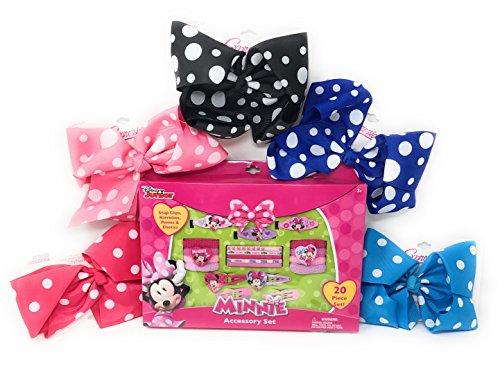 My Minnie Holiday Hair Accessory Set Little Girls Christmas 20 Piece Gift Set With Bonus Polk-A-Dot Hair Bow Clip Included ()