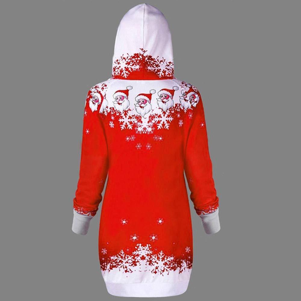 Auwer Women Christmas Hoodie Sweatshirt Santa Claus Snowflake Print Caps Tops