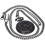 Vintage Brass Antique Black Case Pocket Watch Fob Watch for Men Women With 1 PC Necklace Chain 1 PC Clip Key Rib Chain