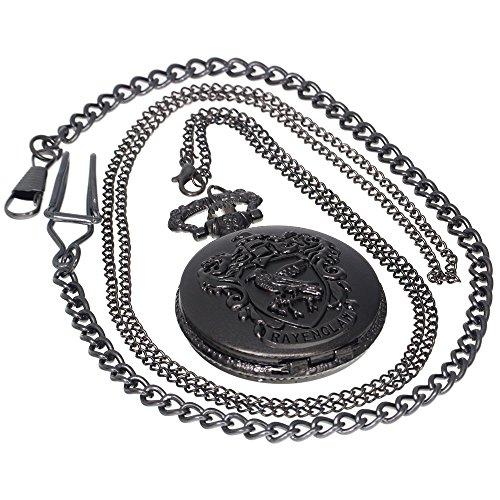 (Vintage Black Eagle Ravenclaw Quartz Pocket Watch Necklace Retro Analog Chain Copper Men Women Children Kids Gift 1 PC Necklace 1 PC Clip Key Rib Chain)