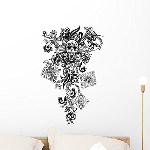 Paisley Skull Tattoo Wall Decal by Wallmonkeys Peel and Stick Graphic (24 in H x 15 in W) WM197644