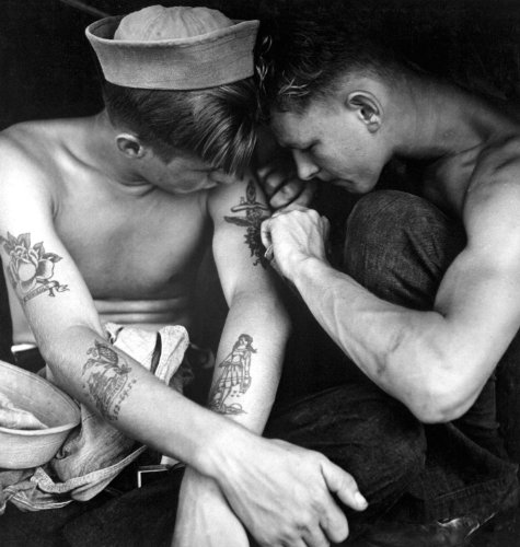 (Sailors Tattoos USS NEW JERSEY Navy WWII Poster Art Photo U.S. Military USA Historical Posters Photos 12x12)