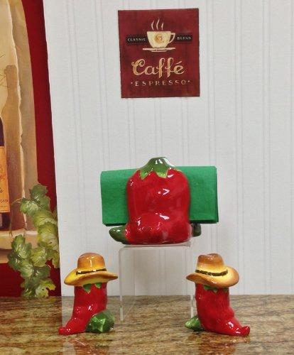 3-Piece WESTERN RED CHILI SET, Napkin Holder, Salt & Pepper Shaker, by ACK