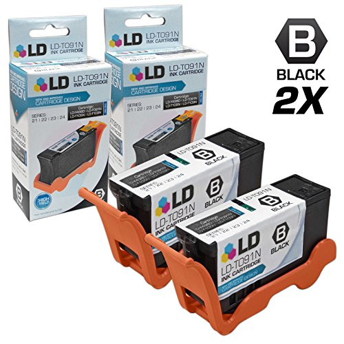 LD Compatible Replacements for Dell T091N (Series 22) Set of 2 High Yield Black Inkjet Cartridges for use in Dell Photo all-in-one P513w, V313, and V313w Printers Dell Inkjet Cartridge