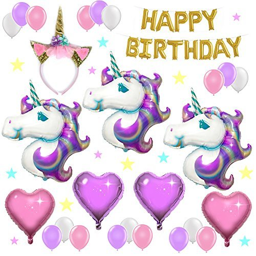 UNICORN PARTY SUPPLIES and PARTY DECORATIONS | Unicorn Balloons with Happy Birthday Banner and Glitter Unicorn Headband - Unicorn Theme Party Pack - 3 Unicorns, Foil Hearts, and Latex (Hearts Party Pack)