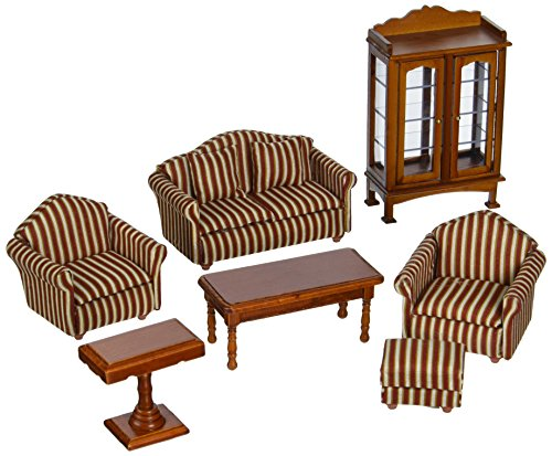 Melissa & Doug Classic Victorian Wooden and Upholstered Dollhouse Living Room Furniture (9 pcs) ()