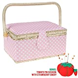 Medium Sewing Basket Organizer with Complete Sewing Kit Accessories Included - Wooden Sewing Box Kit with Removable Tray and Tomato Pincushion for Sewing Mending - Pink