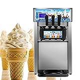 Enshey Commercial Ice Cream Machine 18L/H Food Grade 304 Stainless Steel 3 Flavor Hard Ice Cream Dessert Maker 110V / 60Hz Small Desktop 1200W Digital Display Low Power Ice Cream Making Machine