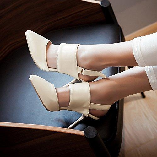 con nuevo ZHZNVX zapatos femeninos de tacones romano de mangas Verano apricot sandalias puntiagudo altos estilo Baotou sin altas bien qR5xI5wgS